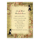 Pretty Vintage Fall Floral Black Cats & Coffee Wedding Invitation
