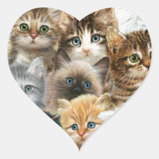 Cat collage heart sticker