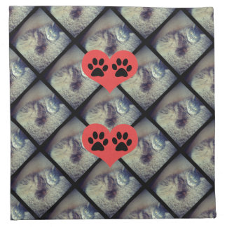 Cat Collage with PawPrints by Shirley Taylor Napkin
