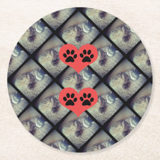 Cat Collage With Pawprints Round Paper Coaster