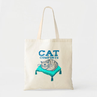 Cat comforts illustration of cat on a pillow bag