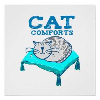 Cat comforts illustration of cat on pillow poster