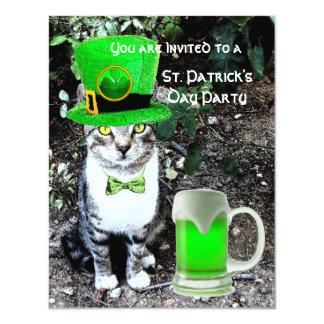 """CAT CON EL FIESTA DEL DÍA DE ST PATRICK IRLANDÉS INVITACIÓN 4.25"""" X 5.5"""""""