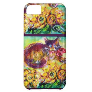CAT CON LA CINTA Y LOS GIRASOLES ROJOS FUNDA PARA iPhone 5C