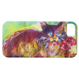 CAT CON LA CINTA Y LOS GIRASOLES ROJOS FUNDA PARA iPhone 5 BARELY THERE