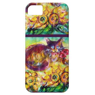 CAT CON LA CINTA Y LOS GIRASOLES ROJOS iPhone 5 FUNDAS