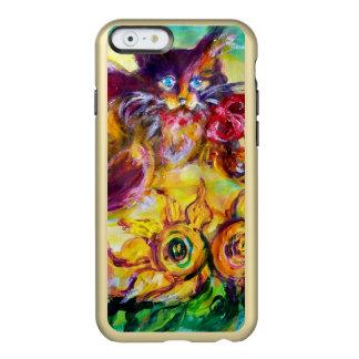 CAT CON LA CINTA Y LOS GIRASOLES ROJOS FUNDA PARA iPhone 6 PLUS INCIPIO FEATHER SHINE