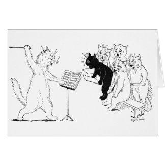 Cat Conducting Chorus Vintage Louis Wain Greeting Card