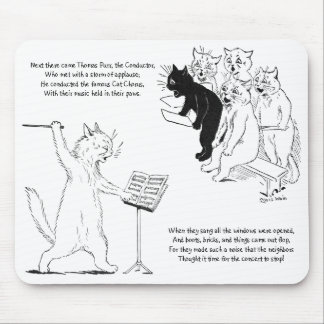 Cat Conducting Chorus Vintage Louis Wain Mouse Pad