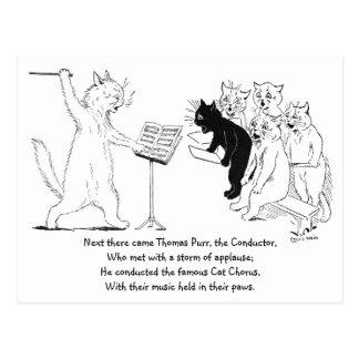 Cat Conducting Chorus Vintage Louis Wain Postcard
