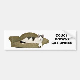 Cat couch potato bumper sticker