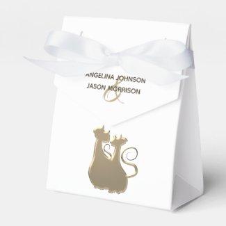 Cat Couple Golden Elegant Chic Wedding Luxurious Favor Box