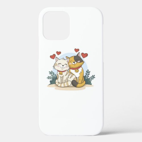 Cat couple love  iPhone 12 case