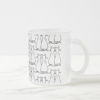CAT COUPLES 10 OZ FROSTED GLASS COFFEE MUG