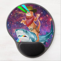 Cat Cowboy riding a Shark spewing a Rainbow Gel Mouse Pad