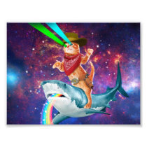 Cat Cowboy riding a Shark spewing a Rainbow Photo Print