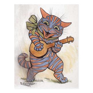 Cat crazy funky Louis Wain vintage art postcard