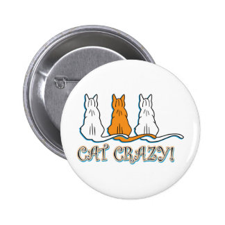 Cat Crazy Orange Tabby Cats 2 Inch Round Button