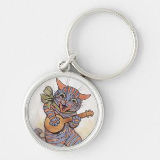 Cat crazy vintage art by Louis Wain keychain