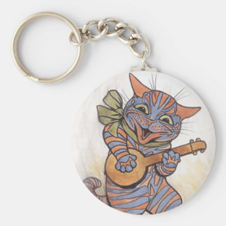 Cat crazy vintage art by Louis Wain keychain