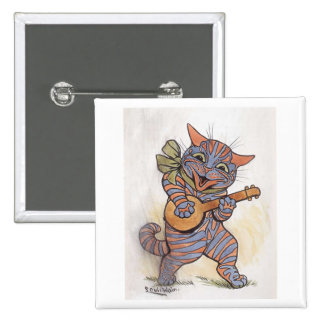 Cat crazy with banjo Louis Wain vintage art, gift Buttons