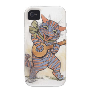 Cat crazy with banjo Louis Wain vintage art, gift Vibe iPhone 4 Covers