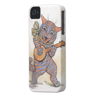 Cat crazy with banjo Louis Wain vintage art, gift iPhone 4 Case-Mate Cases