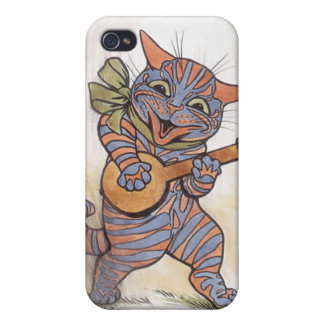 Cat crazy with banjo Louis Wain vintage art, gift iPhone 4 Cases