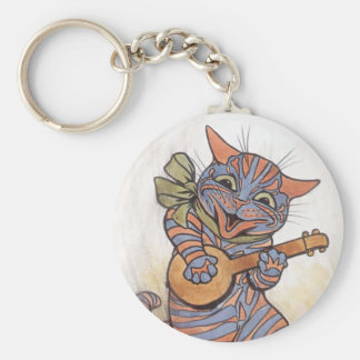 Cat crazy with banjo Louis Wain vintage art, gift Keychain