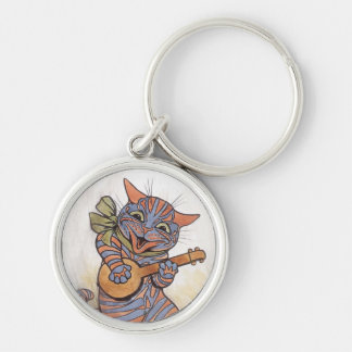 Cat crazy with banjo Louis Wain vintage art, gift Silver-Colored Round Keychain