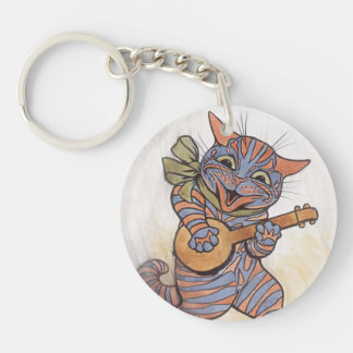 Cat crazy with banjo Louis Wain vintage art, gift Double-Sided Round Acrylic Keychain