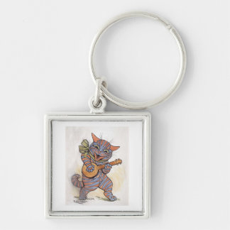 Cat crazy with banjo Louis Wain vintage art, gift Silver-Colored Square Keychain