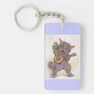 Cat crazy with banjo Louis Wain vintage art, gift Double-Sided Rectangular Acrylic Keychain