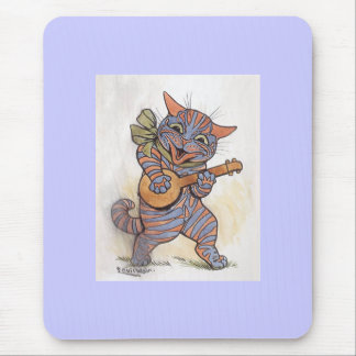Cat crazy with banjo Louis Wain vintage art, gift Mouse Pad
