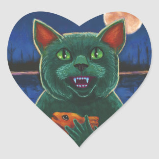 Cat Creature from the Black Lagoon Heart Sticker