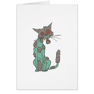 Cat Creepy Zombie With Rotting Flesh Outlined Hand Card