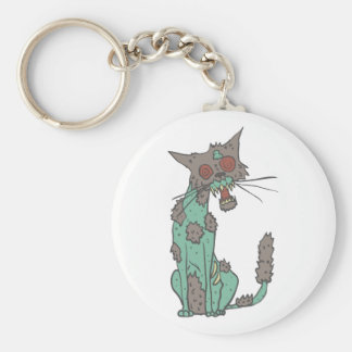 Cat Creepy Zombie With Rotting Flesh Outlined Hand Keychain