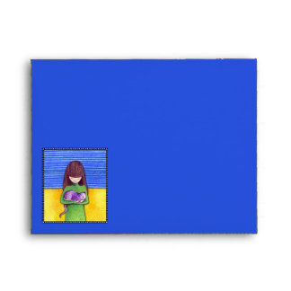 Cat Cuddle blue yellow Note Card Envelope