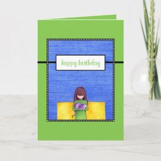 Cat Cuddle green Birthday Card card