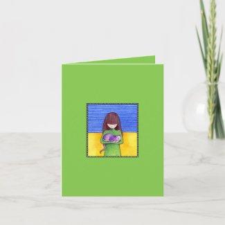 Cat Cuddle green Note Card card