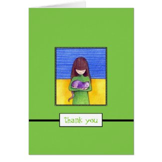 Cat Cuddle green Thank You Note Card card