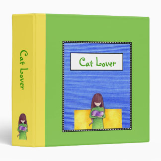 Cat Cuddle green yellow Binder
