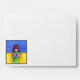 Cat Cuddle white blue Card Envelope