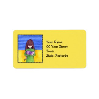 Cat Cuddle yellow Address Label label