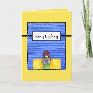 Cat Cuddle yellow Birthday Card card