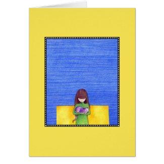 Cat Cuddle yellow Card card