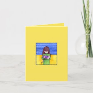 Cat Cuddle yellow Note Card card