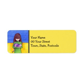 Cat Cuddle yellow Return Address Label label