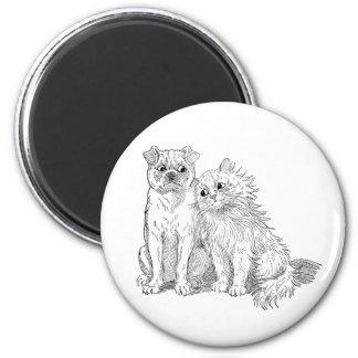 Cat Cuddles Up to Dog 2 Inch Round Magnet