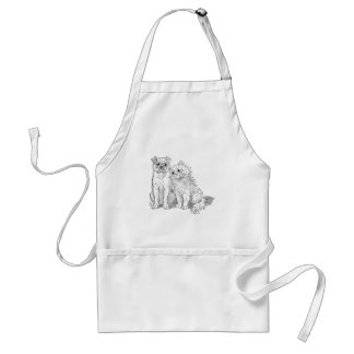 Cat Cuddles Up to Dog Adult Apron